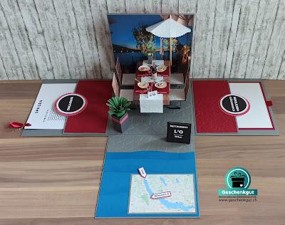 Geschenkbox Explosionsbox Überraschungsbox Restaurant Gutschein Essen Einladung