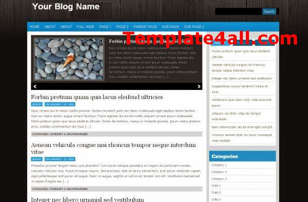 Wooden Black Blue Wordpress Theme Template
