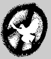 Logo: Taube vor Friedensrune.