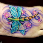 dragonfly wings and blue flowers - Foot Tattoos Designs
