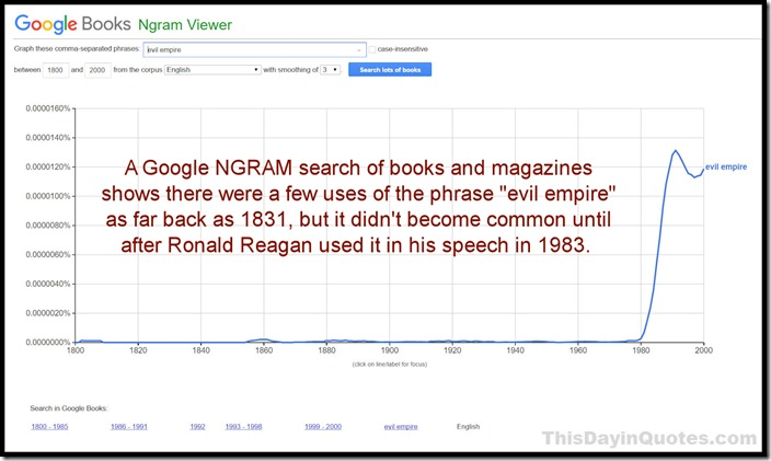 NGRAM search for 'evil empire'