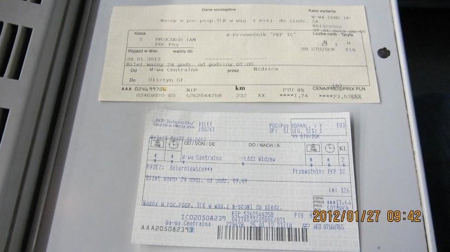 前往Łódź還有事先買好隔天到Olsztyn的火車票