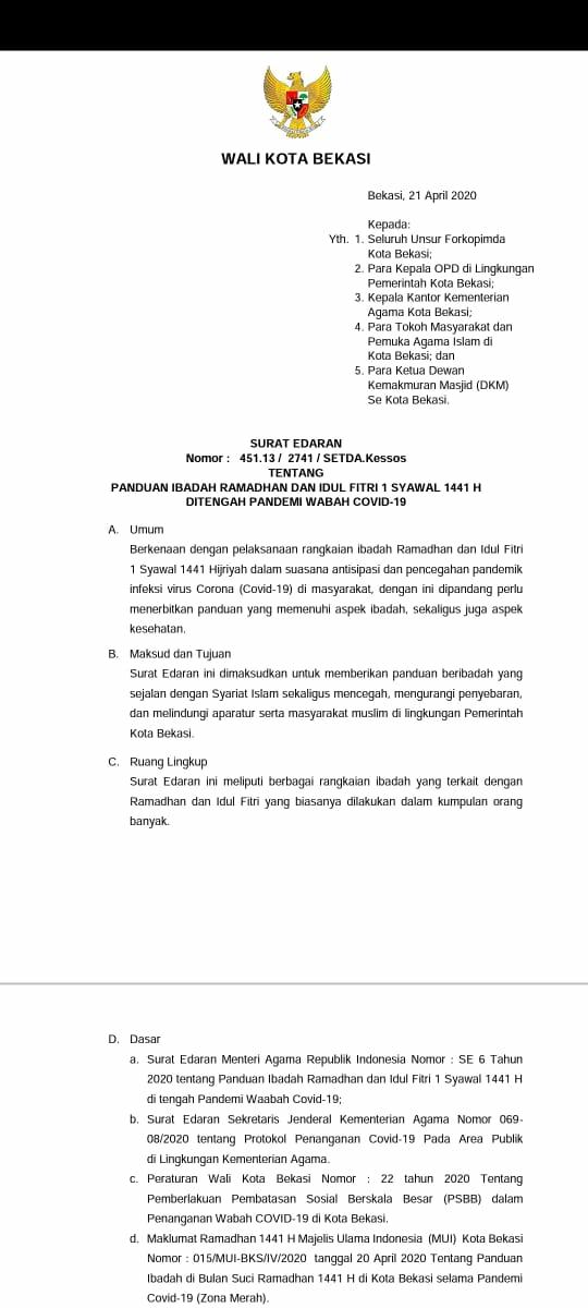 Walikota Bekasi Keluarkan Edaran Panduan Ibadah Ramadhan Dan Idul Fitri 1 Syawal 1441 H