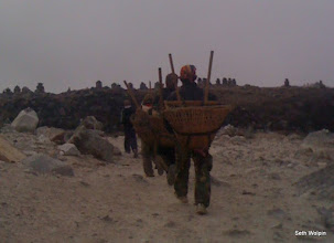 Photo: Porters and Chortens above Thukla