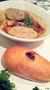 DaNet Second course was Schi Bogatye and a Kartorelkye Klyotski, a game broth and ash roasted cabbage stew with potato dumplings. It was served also with Rastegai, and also Red Kraut Piroshki