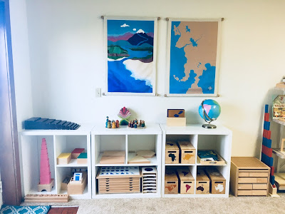 Montessori Homeschool shelves with sensorial, geometry, and geography materials