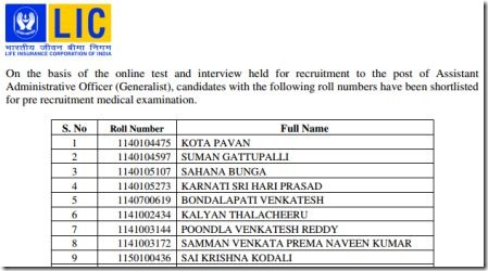 LIC AAO recruitment final results,lic aoo interview final results