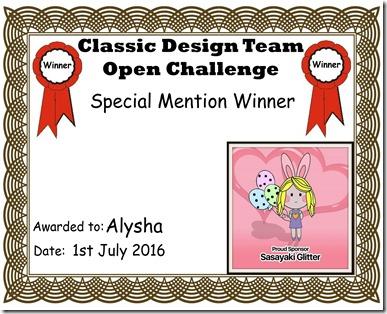 Alysha Certificate
