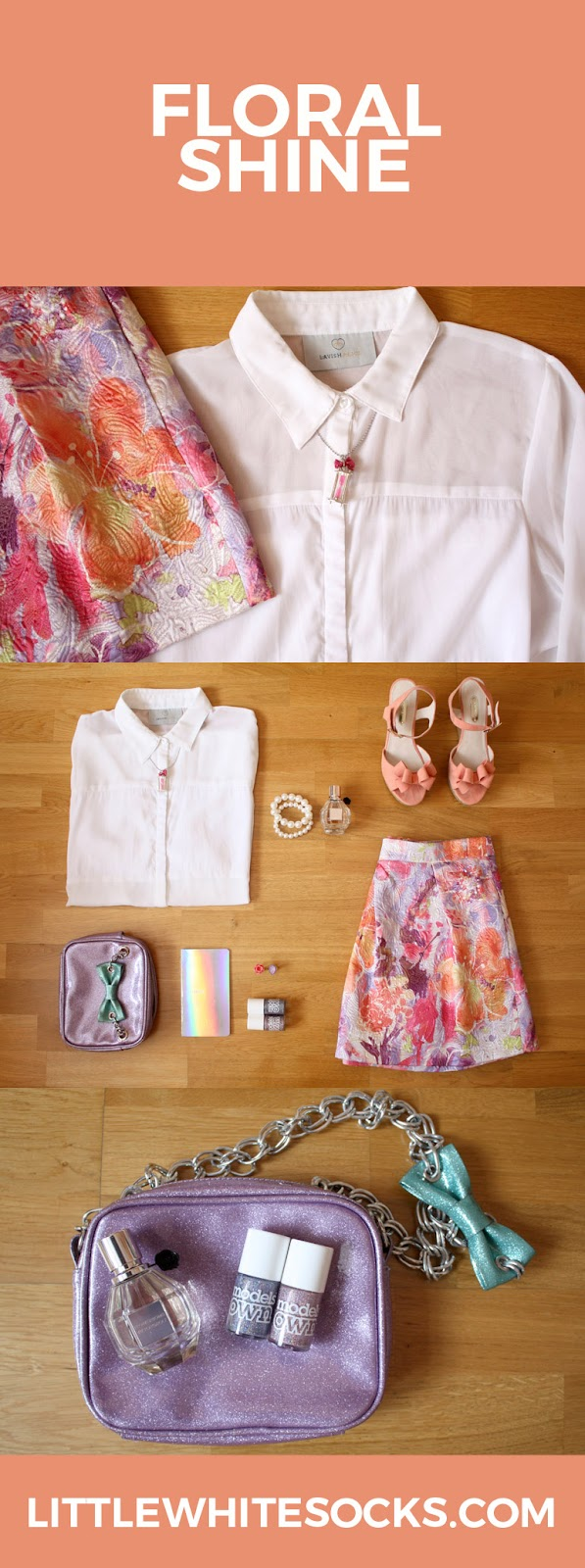 white blouse floral jacquard skirt outfit
