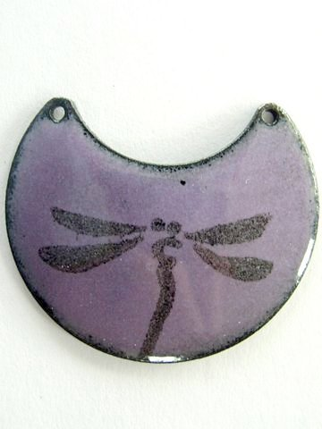 Purple Dragonfly Enamel Pendant from Happy Mango Beads