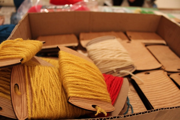 yarn spools for crafting kits at Assemble crafting party