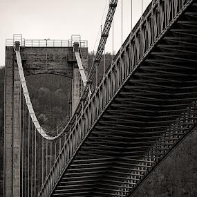 Tjeldsundbrua by Rune Nilssen - Buildings & Architecture Bridges & Suspended Structures ( b&w, bw, suspension, tjeldsund, bridge, nordland, troms, norway,  )