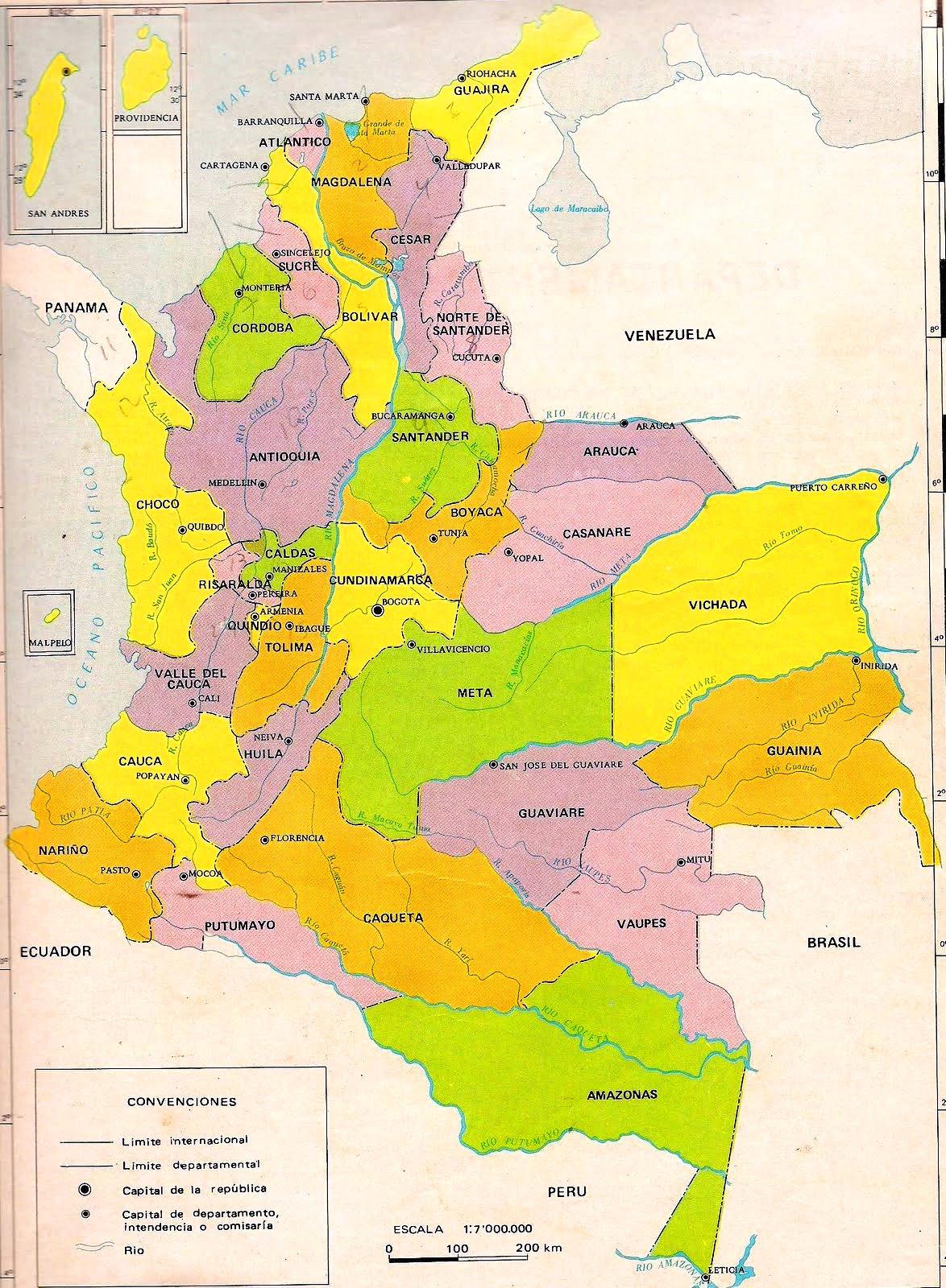 Mapa politico de Colombia hd