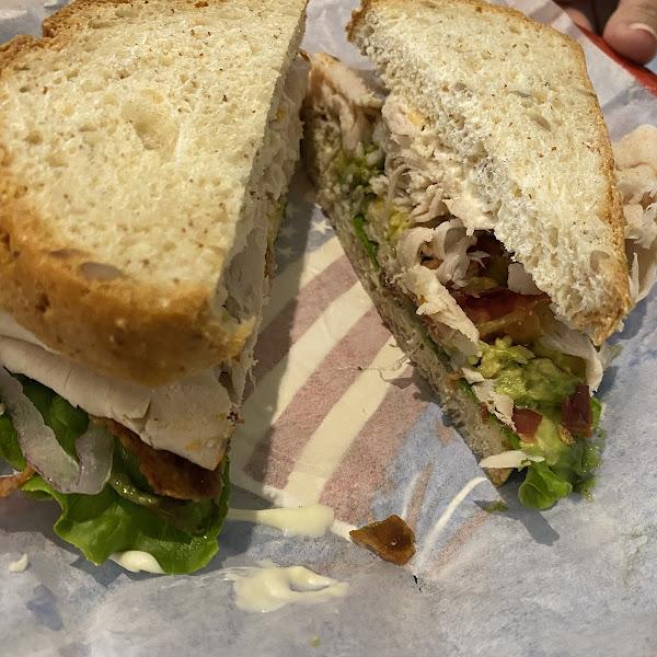 Turkey bacon avocado sandwich.