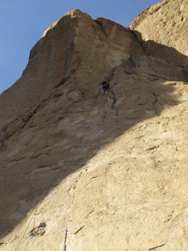 Ana at the top of the 5.10c