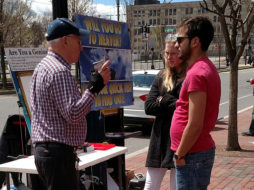 In this photo Ray is sharing Christ with Lisa and her friend at Boston University.