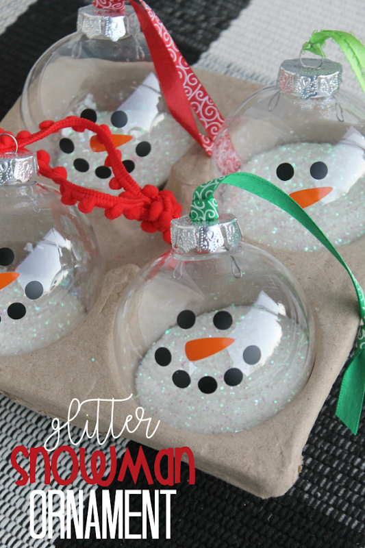 Glitter Snowman Ornament at GingerSnapCrafts.com #crafts #snow #snowman