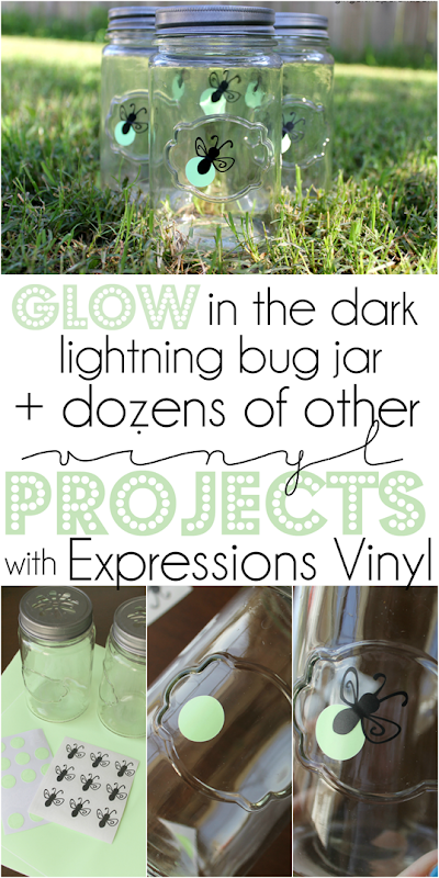 Glow in the Dark Lightning Bug Jar   dozens of other vinyl projects with Expression Vinyl at GingerSnapCrafts.com