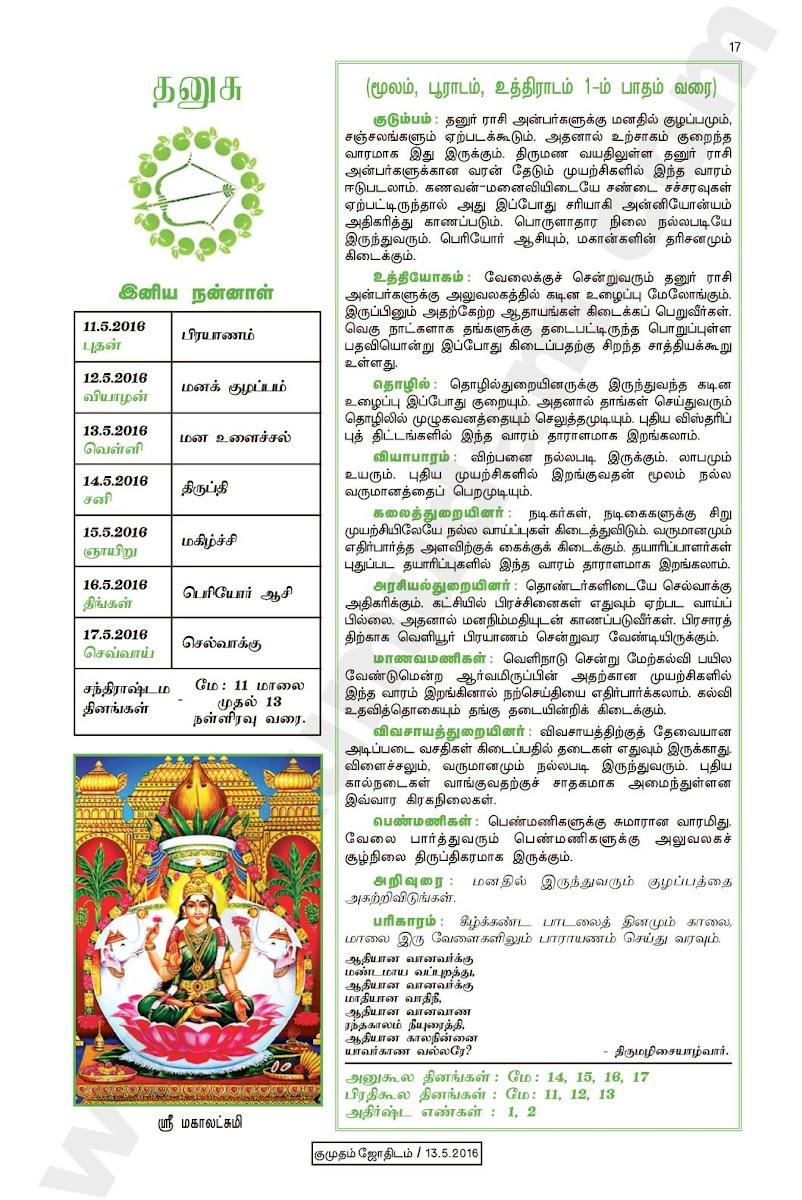 Kumudam Jothidam Raasi Palan May 11-17, 2016