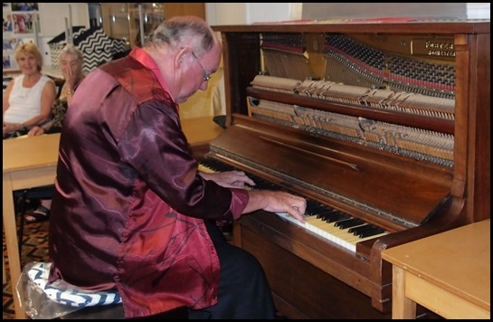 Joe Fingers giving the old piano a dusting - magic! Joe played Mac the Knife in various styles such as Winifred Atwell and Richard Clayderman - superb. Photo courtesy of Dennis Lyons.