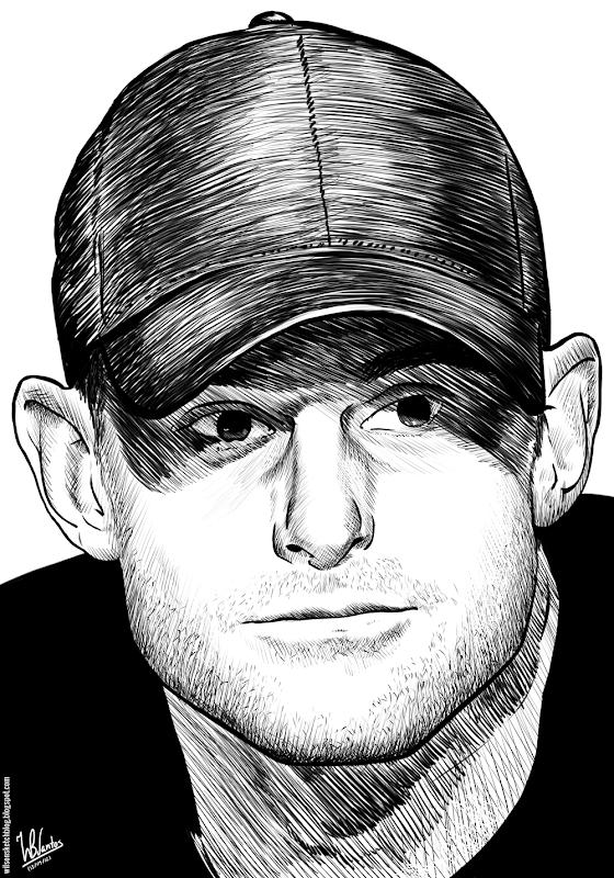 Ink drawing of Andy Roddick, using Krita 2.4.