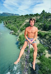 Wim Hof in his younger years, bungee jumping.