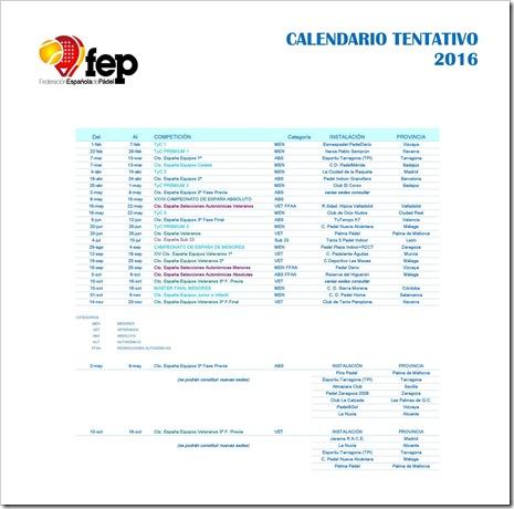 Calendario Tentativo Oficial Federación Española de Pádel 2016.