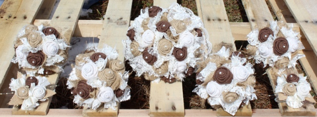 burlap and lace wedding bouquets for bride and bridesmaids