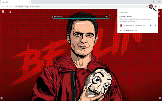 Money Heist HD Wallpaper New Tab