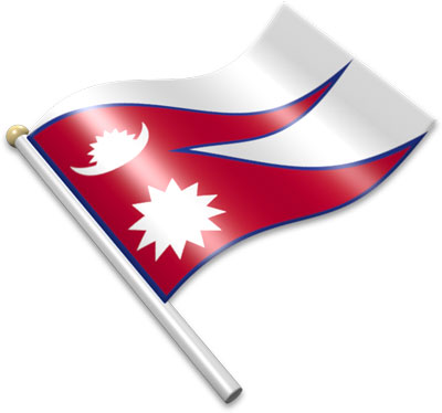 The Nepali flag on a flagpole clipart image