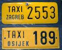 SFRJ, Hrvatska, Zagreb i Osijek, dodatne pločice taksista