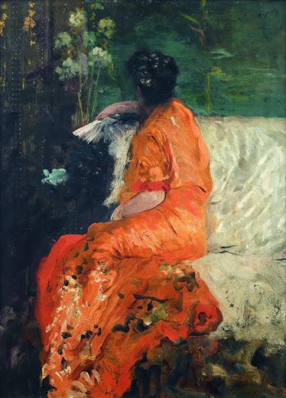 Giuseppe de Nittis - Kimono couleur orange
