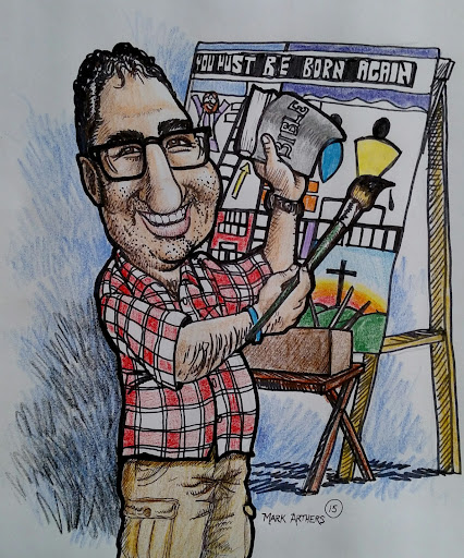 One of the guys who works at the Camp is a very talented artist. He surprised me with this fun and amazingly-well-done caricature of me. What an honor! And he did some reasearch too, because the painting in the drawing is actually accurate to one of the paintings I use. He said he found it on my website and used that to draw it in. This is very cool and fun! I think I look better in this than in real-life!!!