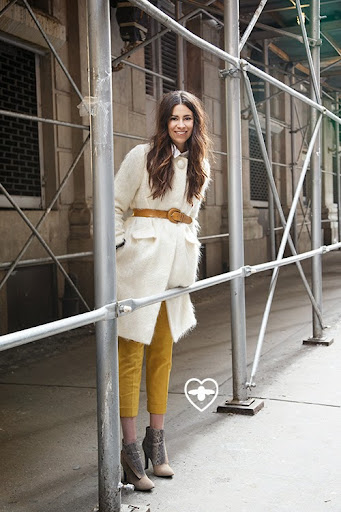 Emily Lane; blogger; Milly coat; vintage belt; Club Monaco trousers; Rebecca Minkoff boots;