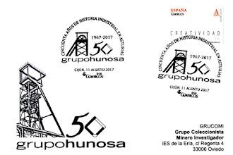 Photo: Tarjeta con el matasellos del 50 aniversario de HUNOSA en Gijón