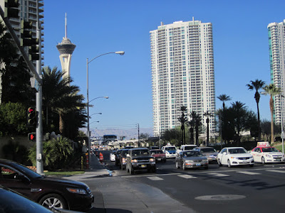 vegas traffic stratosphere condos stock photo