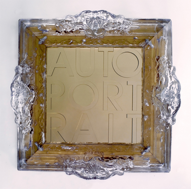 Auto Port Rait, Baroque Frame in Transparent Crystalline Plastic with Mirror and Mirrored Self Portrait Letters, 25 x 25 inches.