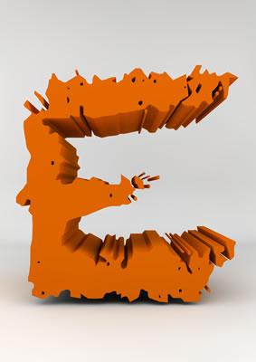 lettre 3D chiffron de craie orange - E - images libres de droit