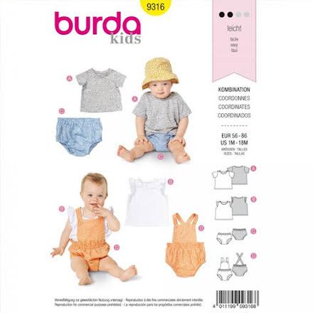 Burda 9316 - Shorts/Blöjbyxa och Tröja - Baby