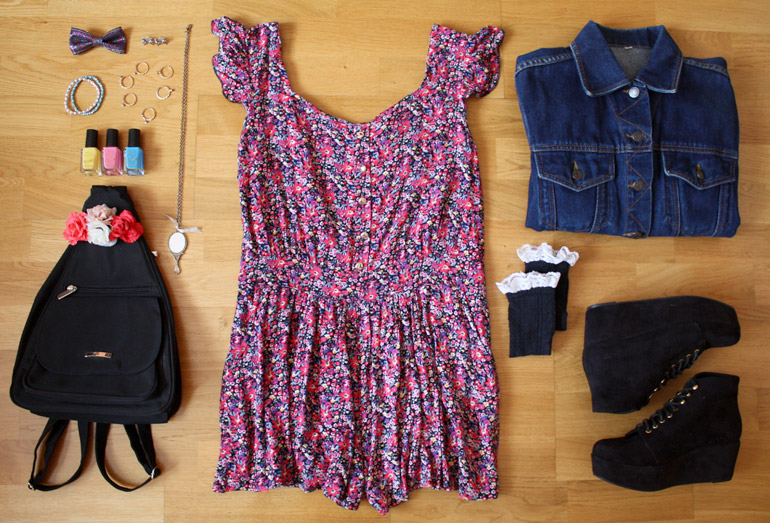 printed playsuit denim jacket fashion outfit flat lay from the high street