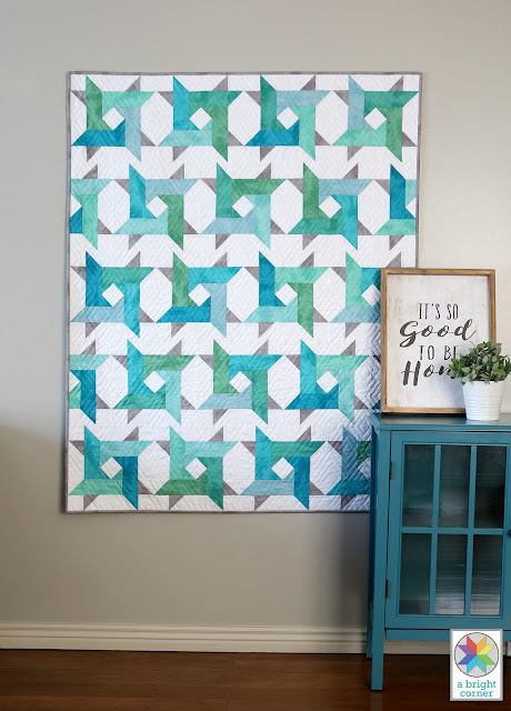Windy City pattern by Andy of A Bright Corner is a pre-cut friendly pattern great for using jelly rolls, layer cakes, fat quarters, or yardage. Pattern includes four sizes: crib, throw, twin, queen and is a modern twist on the traditional star quilt pattern