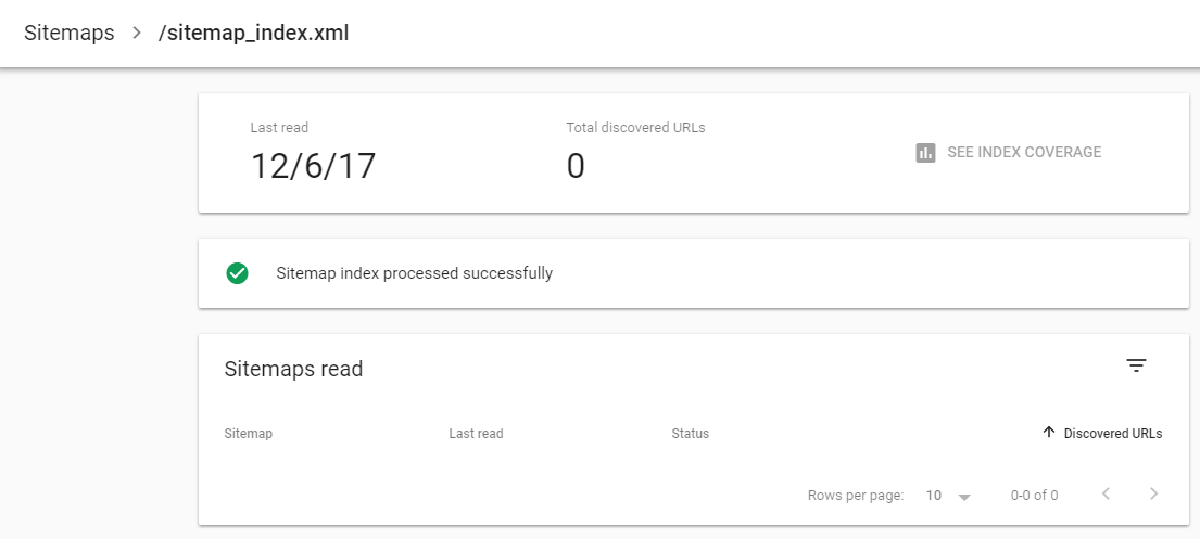 sitemap accepted successfully but zero discovered urls
