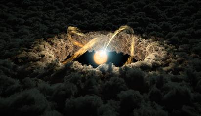 ilustração de uma estrela rodeada por um disco protoplanetário