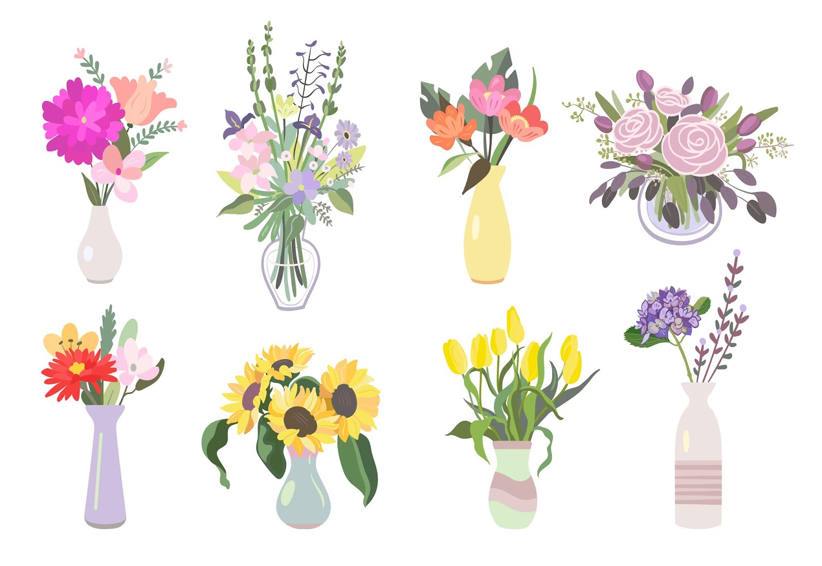 Colorful Flowers Flat Icon Pack Free Download Vector CDR, AI, EPS and PNG Formats
