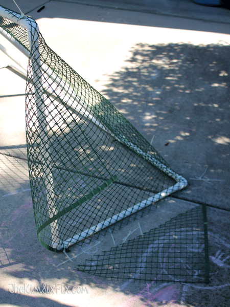 Adding netting to soccer goal