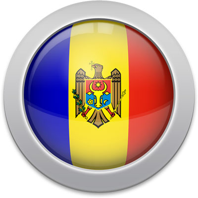 Moldovan flag icon with a silver frame