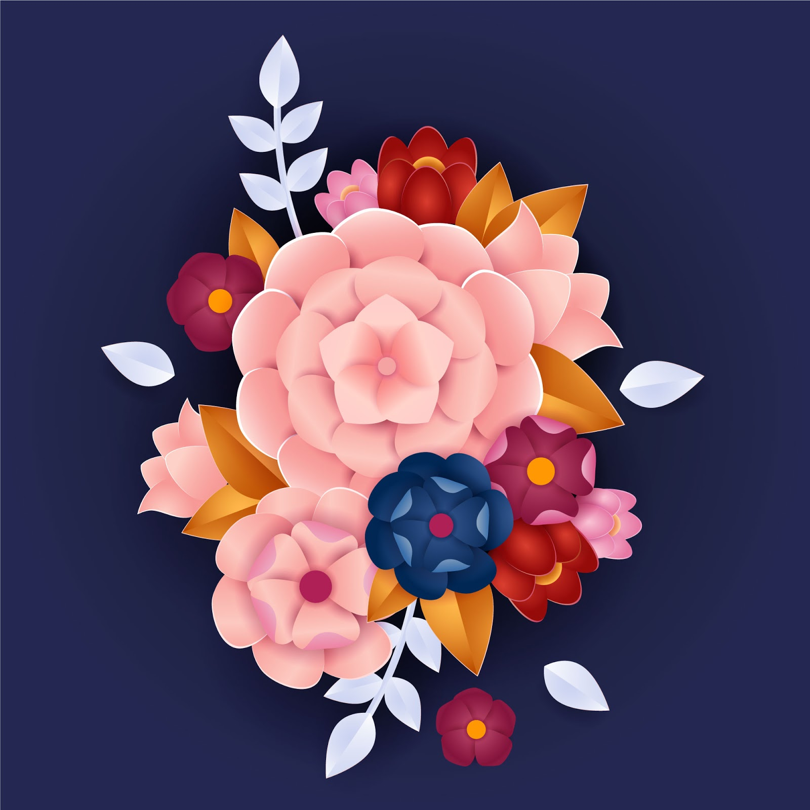 Gradient Paper Style Flowers Concept Free Download Vector CDR, AI, EPS and PNG Formats