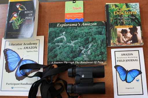 Some of our gear and research material. From On Bug Spray, Research Projects, and Weirdly Named Birds