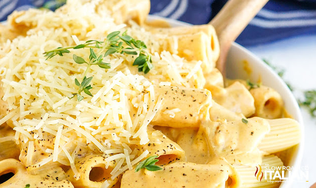 easy pasta dish heaping out of a bowl