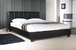 Unique LB faux leather bed frame available in black or white